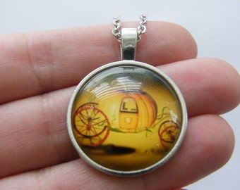 1 Cinderella pumpkin carriage glass cabochon pendant antique silver tone NB17
