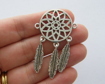 2 Dream catcher connector charms antique silver tone M685