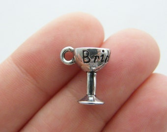 4 Bride goblet charms antique silver tone FD290