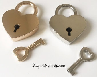 Heart Lock- Silver or Gold  Heart Lock -  Padlock Slave to Love Functional - Locking Pendant Discreet Day Collar Gift For your Love - DDLG