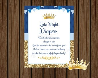 Prince Baby Shower Late Night Diapers Game Sign, Prince Baby Shower Wee Hours Game, Late Night Diapers Sign, Royal Prince, Instant Download