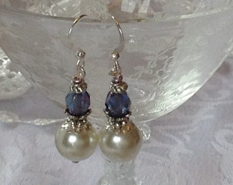 White Pearl  and Sapphire/Amethyst Bridal Bridesmaid Earrings