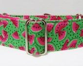 Watermelon Martingale Dog Collar Summer Pink Green Greyhound Collar Italian Greyhound Whippet collar,training collar, wide dog collar