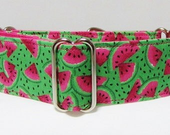 Martingale Collar Watermelon Summer Pink Green Greyhound Collar Italian Greyhound Whippet collar training collar wide dog collar