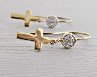 Gold Earrings, Gold Jewelry, First Communion Gift, First Communion Jewelry, Earrings, Gold Cross Earrings, Cross Earrings, Cross Jewelry