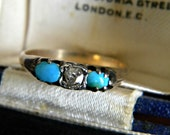 Antique very old turquoise and diamond ring - antique jewelry Georgian jewelry - alternative engagement ring