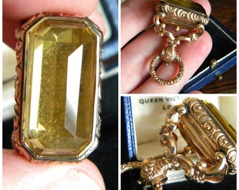 Antique Georgian solid rosy gold ornate repousse citrine or topaz watch fob - antique jewelry Georgian jewelry
