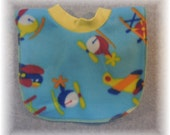 Baby Bib Pullover Fleece Planes Helicopters Print for baby through toddler years