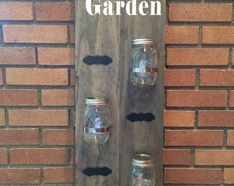 Mason Jar Indoor Herb Garden Planter with Chalkboard Labels
