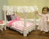 "Victorian American Girl Doll Bed with""Eiffel Tower Sparkly"" fabric tufted Headbord/optional bedding dresser and side table"
