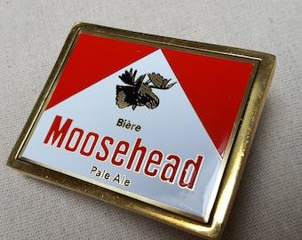 Moosehead beer belt buckle, french