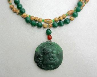 Chinese Dark Green Jade Medallion, Faceted Aventurine & Chinese Ceramic Beads, Statement Multi-Strand Necklace Set by SandraDesigns