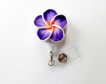Purple Plumeria Flower - ID Badge Holder - Flower Badge Reel - Name Badge Holder  - Pretty Badge Clip - Nursing Badge  - Nurse Gift - RN