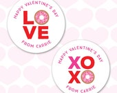 Valentine's Day Stickers - Donut Love - Sheet of 12 or 24