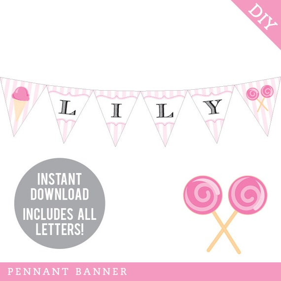 INSTANT DOWNLOAD Sweet Shoppe Party - DIY printable pennant banner - Includes all letters, plus ages 1-18