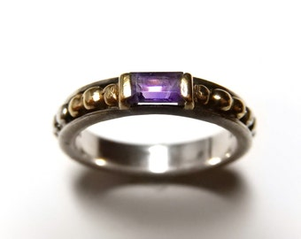 Lagos Caviar 18K Gold & Sterling Silver Beaded Ring With Amethyst Size 7.5