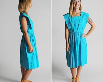 SALE Vintage Teal Day Dress - Summer Woven  Dress Sleeveless Gathered Skirt Midi Pleated Futuristic - Size Medium