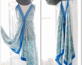 Turquoise Festival Maxi slip dress, Boho dress Blue scarf slip dress, Hippie chic halter dress, Bohemian beach dresses, True rebel clothing
