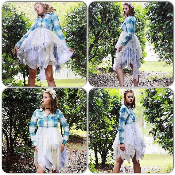 Boho lace kimono duster, Nashville country chic Cma Duster dress, Stevie Nicks Style French country shabby cottage chic, True rebel clothing