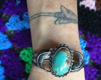 Vintage Old Turquoise Stone Two Feather Cuff Bracelet