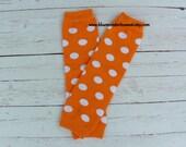 Orange with White Polka Dots Baby Leg Warmers
