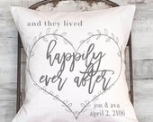 Anniversary Gift Wedding Gift Personalized Gift Happily Ever After Pillow Cover