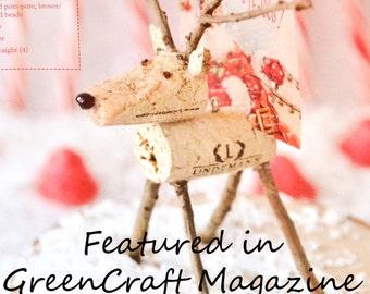 Upcycled Wine Cork Reindeer Ornament, Escort Card Holder, Favor, Photo Holder