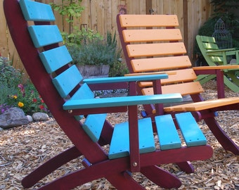 High Back Cedar ArmChair - Two-Color - Garden, Patio & Deck Beauty! - Choose from 12 Stain Colors - Storable - handcrafted by Laughing Creek