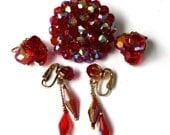 sale Vintage Red Destash Aurora Borealis Bead Brooch Dangle Cluster Earrings