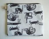 Original design hand sewn skeleton zipper bag
