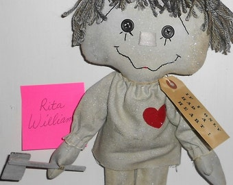 RESERVED Listing for Rita Williams Tinman Wizard of Oz Handmade Primitive Raggedy doll Hafair