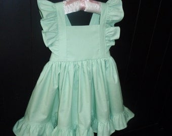 Girls Mint Dress, Flower Girl Dress, Flutter Sleeve Dress, Toddler Baby Girl Mint Dress, Ruffles, Handmade by Hopscotch Avenue