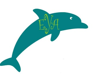 Large Dolphin with monogram vinyl decal