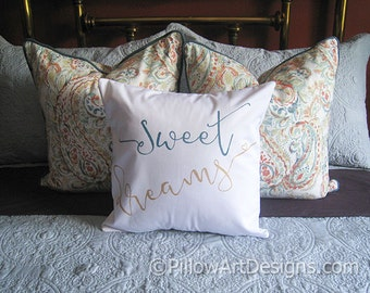 Sweet Dreams Pillow with Insert White Cotton Teal Gold Metallic Hand Painted Made in Canada Ready To Ship