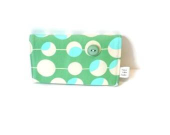 Business card holder, credit card case, coworker gift, olive green blue, two pockets, secure magnetic snap, card storage, gift under 15