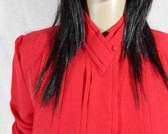 1980's RED DRESS BLOUSE by Yves St Clair Size 8