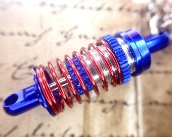 Auto Racer, Mechanic mini Shock, strut Necklace blue, red, silver