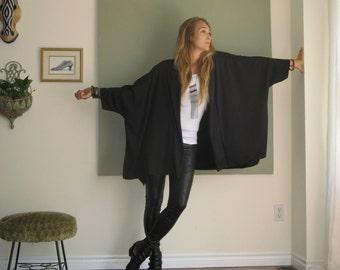 Boho Chic Oversized Cardigan Kimono Sleeve Minimalist Boxy Sweater Ruana Wrap Shawl Collar Soft Lightweight French Terry XL - 3XL