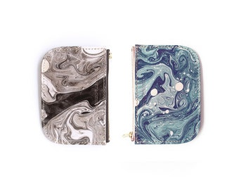 Tonala Pequena Zip Wallet - Black or Slate Marble