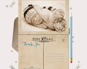 Vintage Postcard Baby Announcement Thank You Cards · Announce your new baby and send thanks all in one!