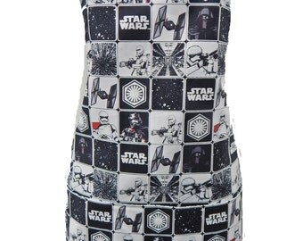 "Apron With ""STARWARS"" Pattern, Cotton, Reversible Apron, ""2 Aprons In 1"", Cotton, New"