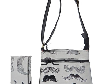 """A Cross Body Bag & A Matching Wallet With """"WHERE Is My Stache Mustache """" GOTHIC  Pattern, Cotton, New , (Only 2 Items)"""