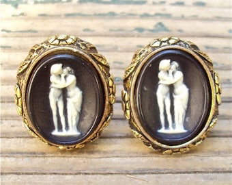 "Designer Cuff Links, Cameo, ""Museum Masterpiece"", Incolay, Black, Vintage"