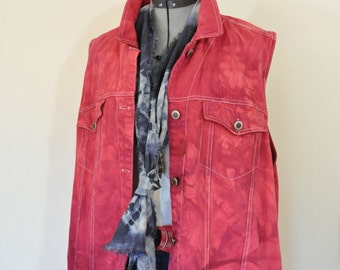 """Red 26W XL Denim VEST - Wine Red Dyed Upcycled Faded Glory Cotton Denim Trucker Vest - Adult Womens Plus Size Extra Large (54"""" chest)"""