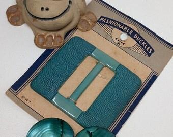Vintage Teal Belt Buckles - Shell Belt Buckle - Celluloid Belt Buckle - Celluloid Sash Slide