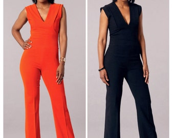 Deep V-Neck Jumpsuit Pattern, McCall's Sewing Pattern 7444