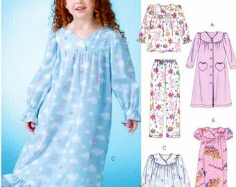 Girl's Easy Nightgown Pattern, Little Girls' Pajama Pattern, Girls' Robe Pattern, McCall's Sewing Pattern 7221
