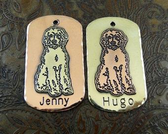 Custom Labradoodle Sitting Dog ID Tag-Personalized Pet Collar ID Tag-Dog ID Tag-Handmade Labradoodle Dog Tag
