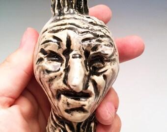 Miniature Skull Tattoo Face Jug - southern style folk art by Kate Bertin
