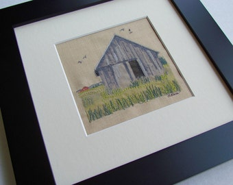 Contemporary Embroidered Photo, Michigan Art, Ready to Hang